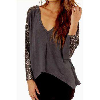 Fashionable V Neck Sequins Splicing Long Sleeve T-Shirt For Women