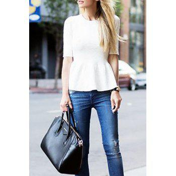Stylish Jewel Neck Half Sleeve White Ruffles Spliced Women's T-Shirt