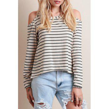 Stylish Scoop Neck Long Sleeve Striped Cut Out Women's T-Shirt