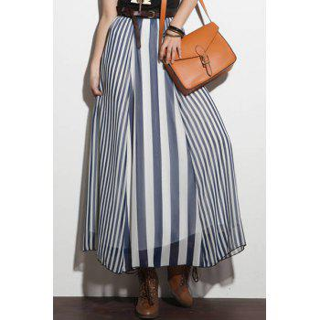 Stylish High-Waisted Vertical Stripes Women's Long Skirt