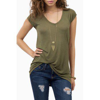 Casual V Neck Short Sleeve Loose-Fitting Women's Army Green T-Shirt
