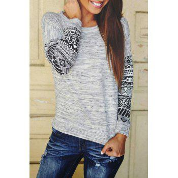 Stylish Scoop Neck Long Sleeve Tribal Pattern Women's T-Shirt