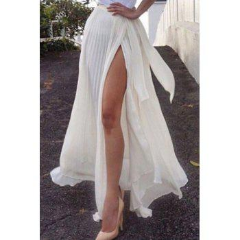 Stylish Solid Color Pleated Side Slit Women's Skirt