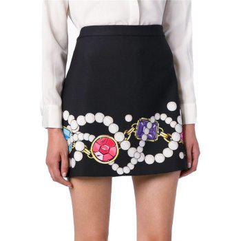 Fashionable Pearl Gem Necklace Print Skirt For Women