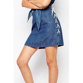 Stylish High-Waisted Packet Buttocks Bleach Wash Lace-Up Women's Denim Skirt