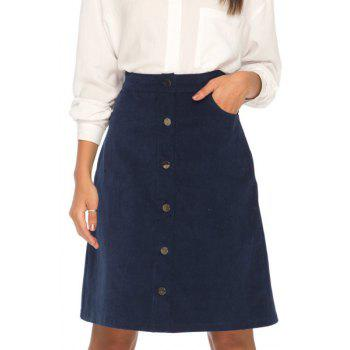 Stylish High Waisted Solid Color Corduroy Women's Skirt