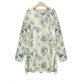 Fashionable Jewel Neck Floral Print High Low Long Sleeve T-Shirt For Women