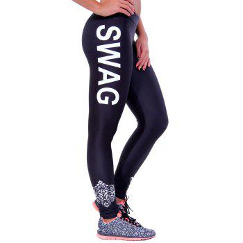 Fashionable Letter Print Color Block Yoga Leggings For Women