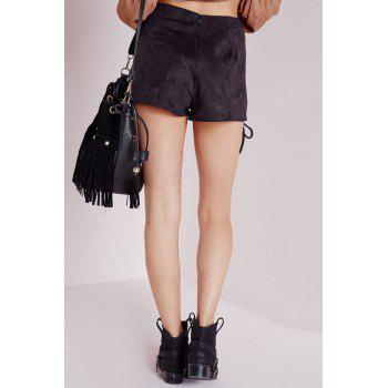 Punk Style High-Waisted Solid Color Lace-Up Women's Shorts - BLACK S