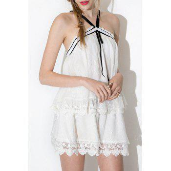 Fashionable Pure Color Lace Shorts For Women - WHITE S