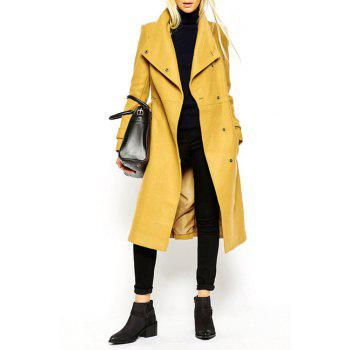 Fashionable Turn-Down Collar Belt Tie-Up Long Sleeve Trench Coat For Women