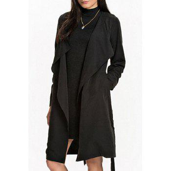 Stylish Turn Down Collar Long Sleeve Self Tie Women's Trench