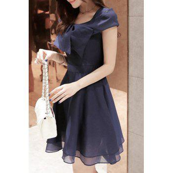 Sweet Scoop Neck Solid Color Hollow Out Short Sleeve Women's Chiffon Dress