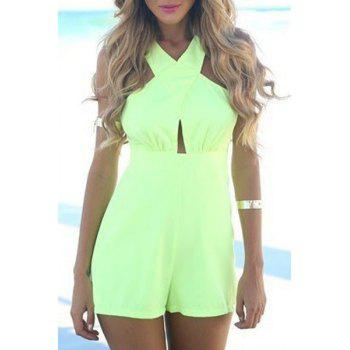 Sexy Halter Sleeveless Backless Women's Neon Green Romper - NEON GREEN NEON GREEN