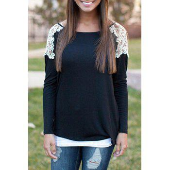 Stylish Scoop Collar Long Sleeve Lace Spliced Women's T-Shirt - BLACK BLACK