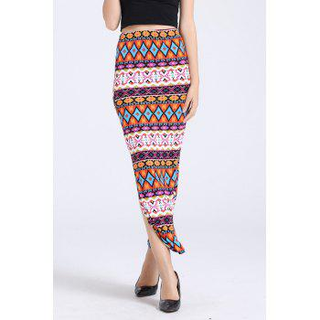 Elegant High-Waisted Packet Buttocks Printed Pencil Women's Long Slit Skirt - COLORMIX COLORMIX