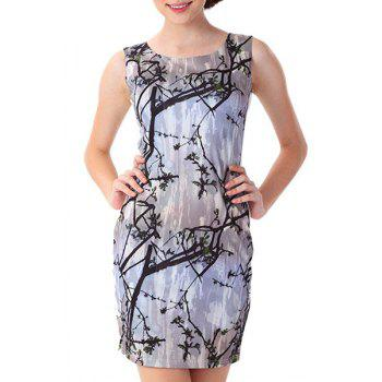 Elegant Scoop Neck Sleeveless Bodycon Printed Women's Dress