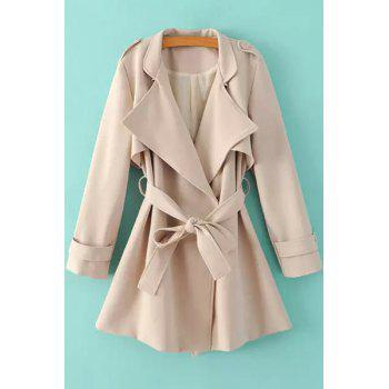 Fashionable Turn-Down Collar Belt Pure Color Long Sleeve Trench Coat For Women