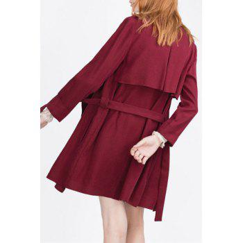 Stylish Turn Down Collar Long Sleeve Self Tie Women's Trench Coat - WINE RED S