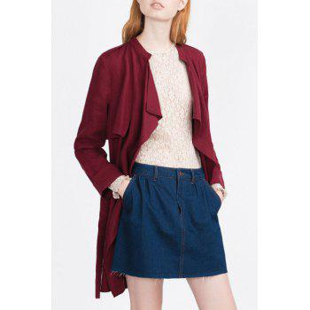 Stylish Turn Down Collar Long Sleeve Self Tie Women's Trench Coat - WINE RED WINE RED