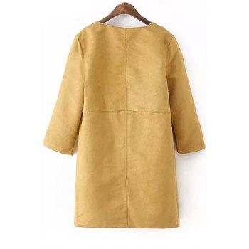 Fashionable Turn-Down Collar Faux Suede 3/4 Sleeve Trench Coat For Women - KHAKI M