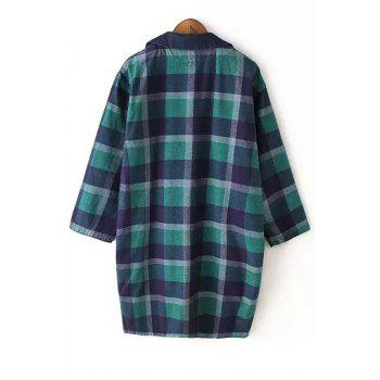 Fashionable Turn-Down Collar Long Sleeves Plaid Women's Reversible Trench Coat - BLUE/GREEN L