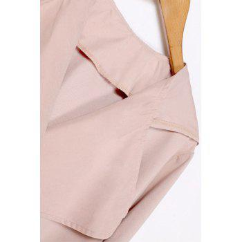 Casual Style Hooded Long Sleeves Pure Color Women's Trench Coat - PINK PINK