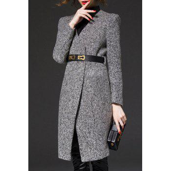 OL Style V-Neck Long Sleeve Gray Women's Trench Coat