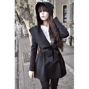 Stylish Hooded Long Sleeve Pure Color Women's Trench Coat