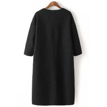 Casual Style Jewel Neck Solid Color Half Sleeve Trench Coat For Women - BLACK S