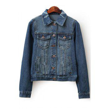 Stylish Turn-Down Collar Long Sleeves Ripped Denim Women's Jacket