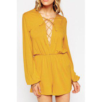 Stylish Plunging Neck Long Sleeve Lace-Up Solid Color Women's Romper