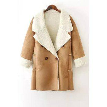 Fashionable Lapel Lamb Wool Double-Breasted Long Sleeve Trench Coat For Women