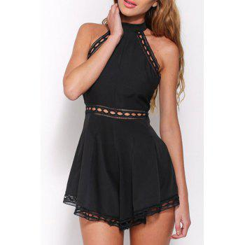 Stylish Stand Neck Sleeveless Black Women's Playsuit