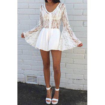 Sexy V-Neck Long Bell Sleeve Hollow Out Women's White Lace Playsuit