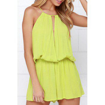 Stylish Cami Solid Color Cut Out Women's Playsuit