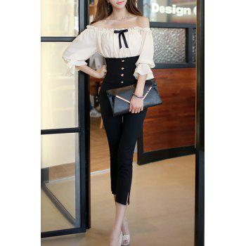 Stylish Off-The-Shoulder Half Sleeve Ruffle High-Waisted Spliced Women's Jumpsuit