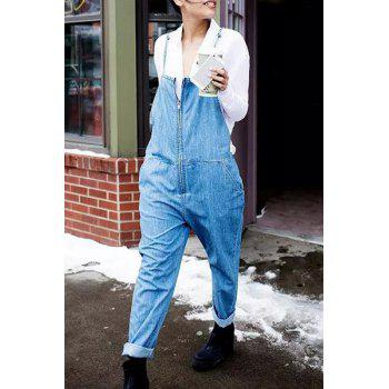 Stylish Bleach Wash Pocket Design Zippered Women's Overalls
