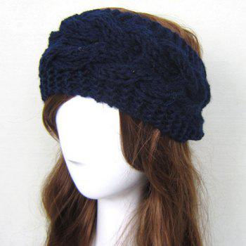Stylish Solid Color Woolen Yarn Knitted Warmth Hairband For Women