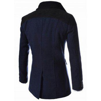 Slimming Stand Collar Inclined Top Fly Color Spliced Flap Pocket Men's Long Sleeves Peacoat - CADETBLUE 2XL