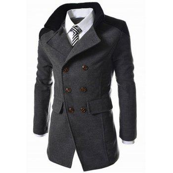 Slimming Stand Collar Inclined Top Fly Color Spliced Flap Pocket Men's Long Sleeves Peacoat - GRAY XL