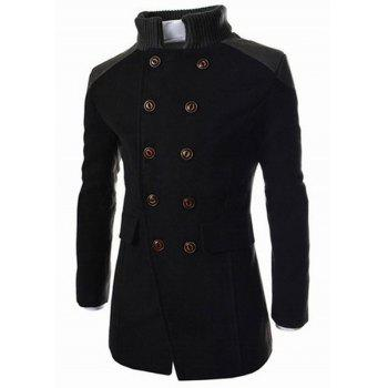 Slimming Stand Collar Inclined Top Fly Color Spliced Flap Pocket Men's Long Sleeves Peacoat - BLACK XL