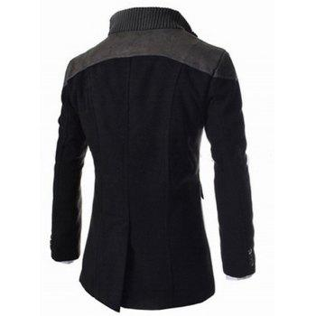 Slimming Stand Collar Inclined Top Fly Color Spliced Flap Pocket Men's Long Sleeves Peacoat - BLACK 3XL