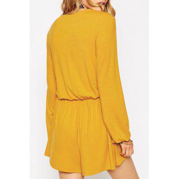 Stylish Plunging Neck Long Sleeve Lace-Up Solid Color Women's Romper - YELLOW XL