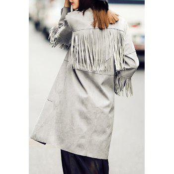 Fashionable Lapel Tassel Splicing Solid Color Long Sleeve Trench Coat For Women - GRAY S