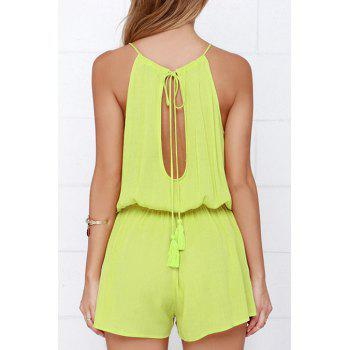 Stylish Cami Solid Color Cut Out Women's Playsuit - YELLOW L