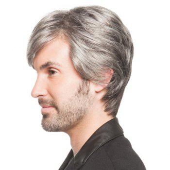 Heat Resistant Fiber Vogue Shaggy Natural Straight Side Bang Capless Grey Short Wig For Men -  GREY