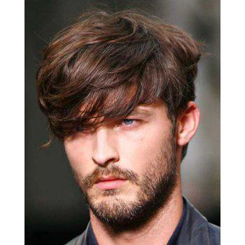 Fluffy Natural Wavy Capless Deep Brown Mixed Trendy Synthetic Short Inclined Bang Wig For Men - COLORMIX COLORMIX