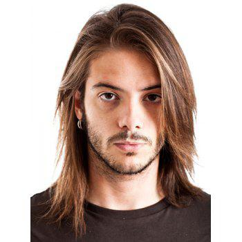 Attractive Inclined Bang Blonde Mixed Brown Straight Synthetic Medium Capless Men's Wig - COLORMIX COLORMIX