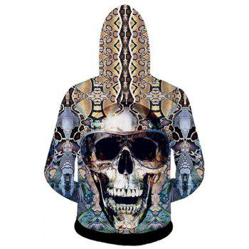 Slimming Hooded 3D Skull Pattern Cotton Blend Long Sleeve Hoodie - AS THE PICTURE M